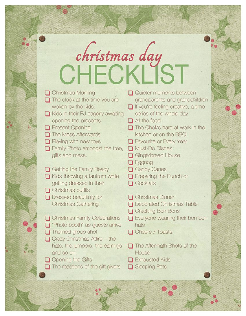 Christmas Day Checklist ~ For The Familiographer | Akemi Photography  #Familiographer #FamilyPhotography #Checklist  Christmas Preparation Checklist