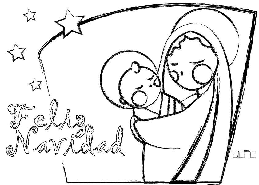 Tarjetas de Navidad para colorear La virgen y el niño - navidad para colorear