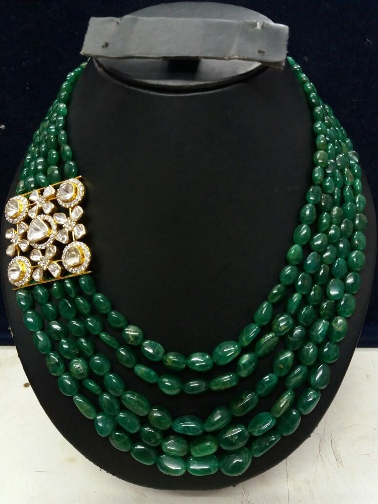 Polki Diamond Fusion Pendant In Emerald String Polki