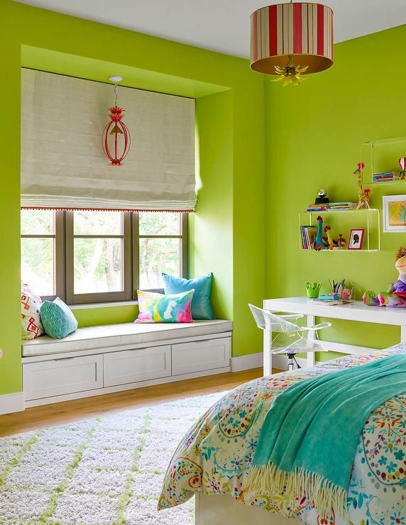 Turquoise Blue And Green Girl S Bedroom Features A Red And Gold Striped Drum Pendant Illuminating A Girls Bedroom Green Green Bedroom Walls Lime Green Bedrooms