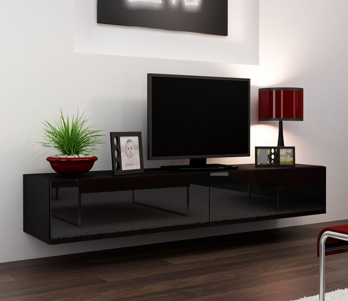 Seattle 23 Modern Tv Wall Unit With High Gloss Black Mdf Fronts Floating Tv Stand Modern Tv Wall Units Modern Tv Stand Black