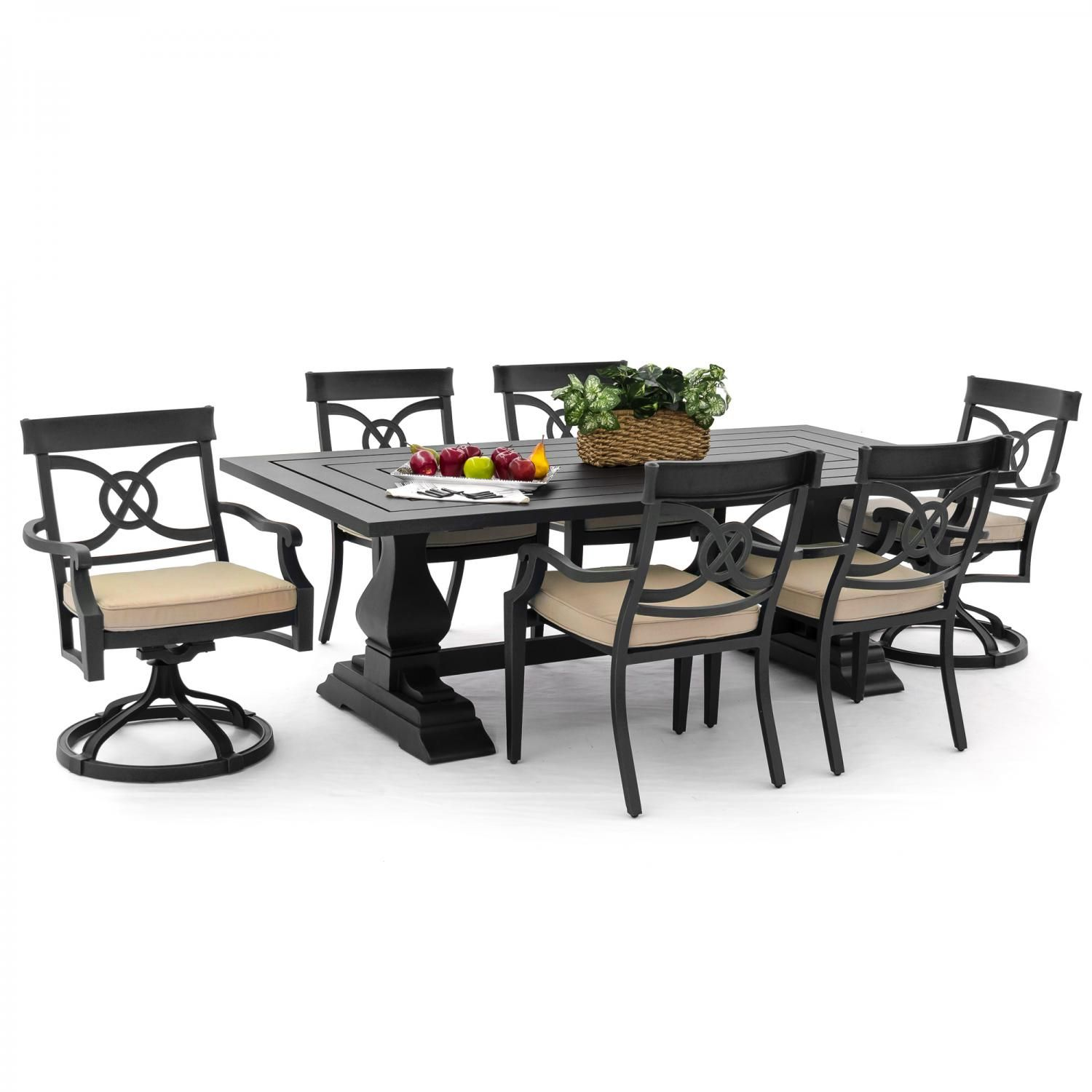 St Charles 7 Piece Cast Aluminum Patio Dining Set With 2 Swivel