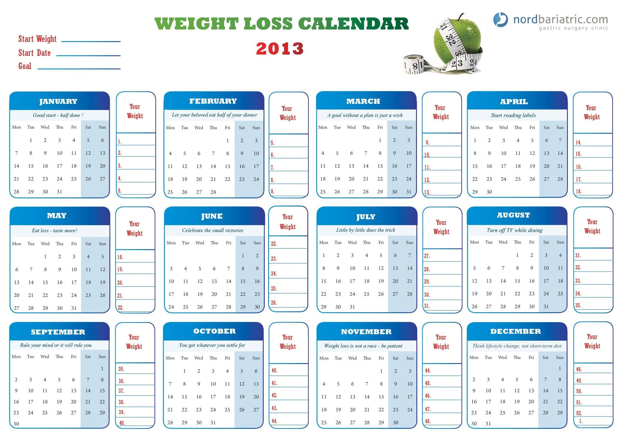 Weight Loss Calendar For   Post Baby Diet