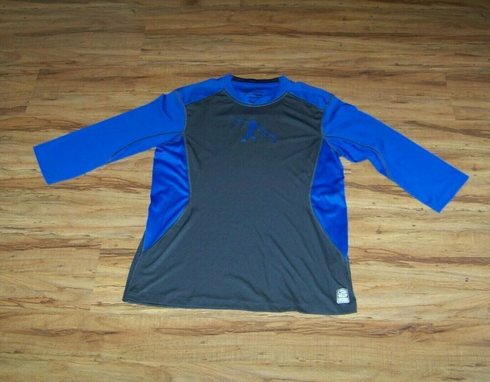 d706b9404c3968 Nike Pro Combat Fitted Youth Boy s Baseball Shirt Size L Black Blue   fashion