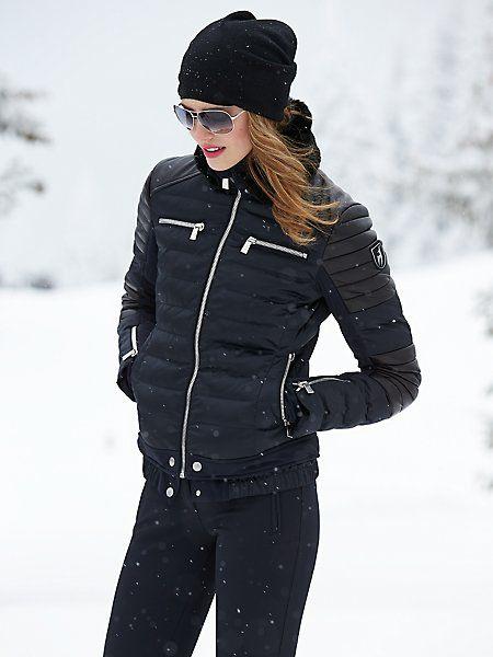 fine ski outfit black jacket gold
