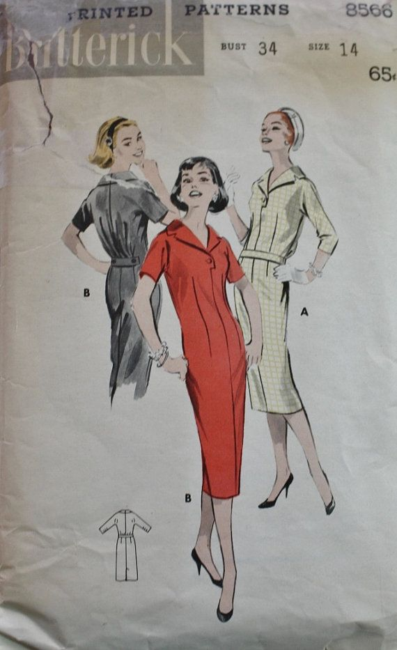 1950s Chemise Dress Butterick 8566 Bust 34 by BluetreeSewingStudio, $12.00