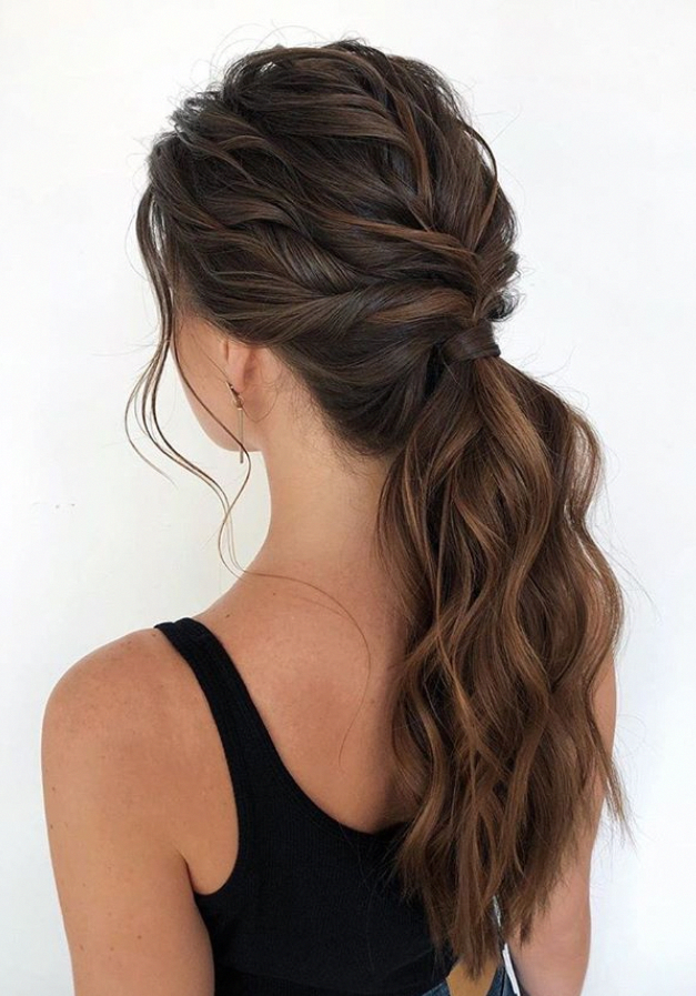 Ponytail Hairstyle Design For Brunette Ponytail Hair Prom Easy Ponytail For Long Cute Ponytail Hairstyles Ponytail Hairstyles Easy High Ponytail Hairstyles