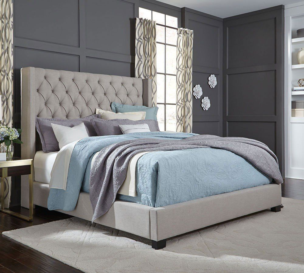 Westerly Upholstered Bed Light Grey Queen Upholstered Bed Luxurious Bedrooms Upholstered Bedroom