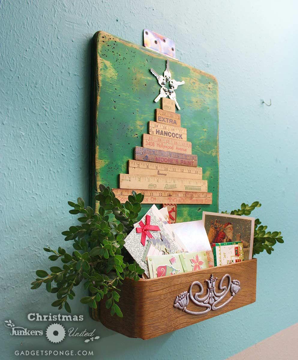 GadgetSponge.com - Repurposing, Upcycling, Birds & Nature - 2014 Christmas Junkers United Repurposed Yardstick & Sewing Machine Drawer Christmas CardOrganizer