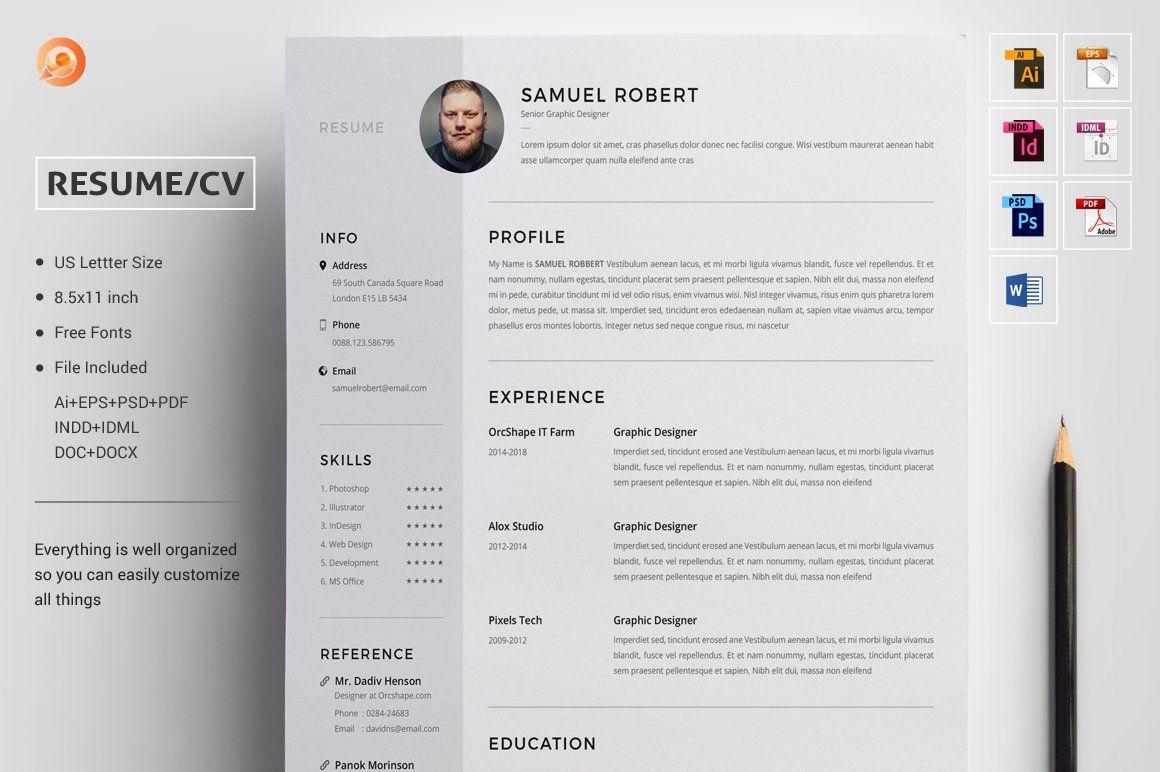 Resume/CV , spon, IllustratorAdobeIDMLINDD Ad