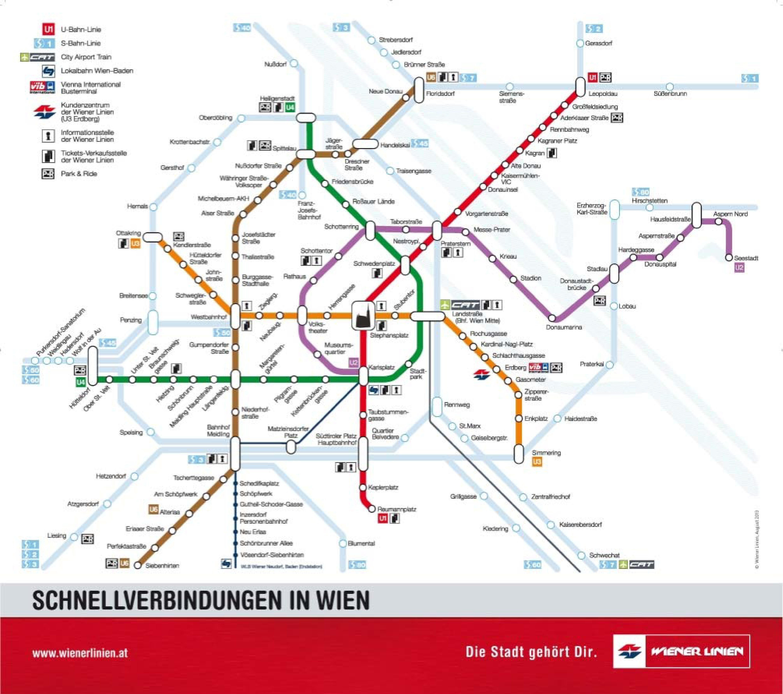 U Bahn Metro Map Of Vienna Metro Map Train Map Vienna Tourist Map