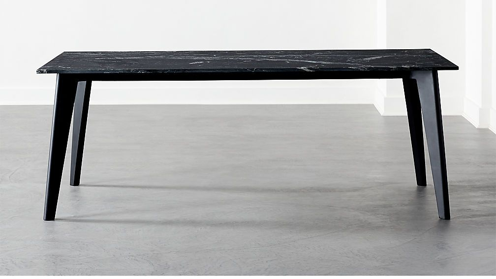 Harper Black Dining Table With Black Marble Top Reviews Cb2 In 2020 Dining Table Black Dining Room Table Marble Marble Top
