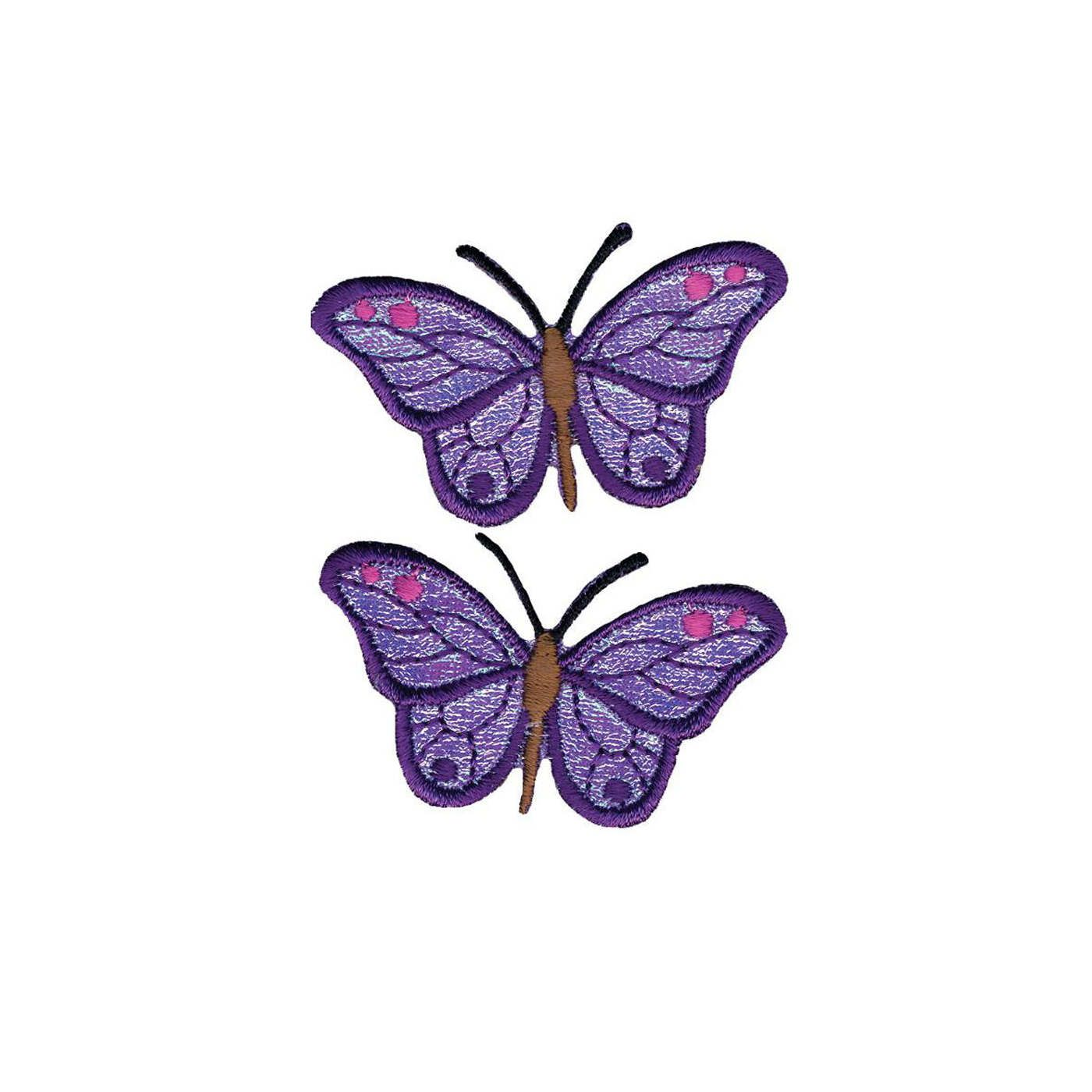 "3/"" PURPLE BUTTERFLY IRON ON PATCH EMBROIDERY PATCH NEW PERFECT FOR CLOTHING"