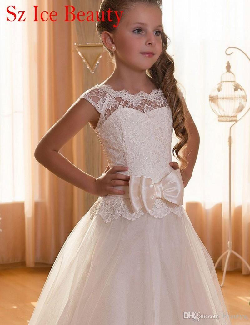 Cheap white floor length flower girls dress for weddings cap