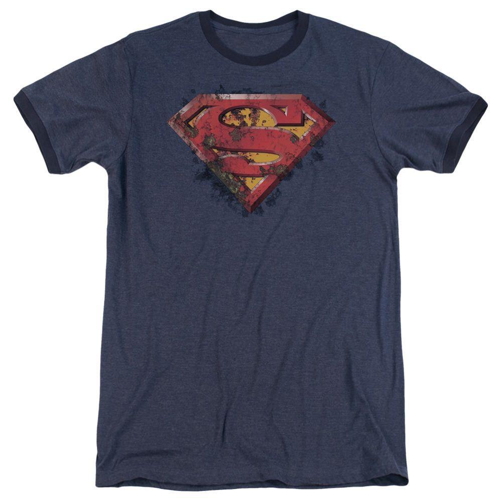 Superman Rusted Shield Navy Ringer T-Shirt