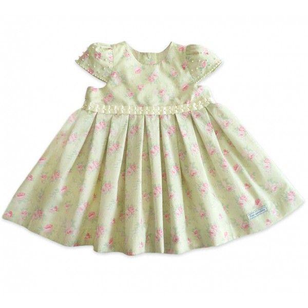 Vestido Floral Verde para Bebê com Pérolas