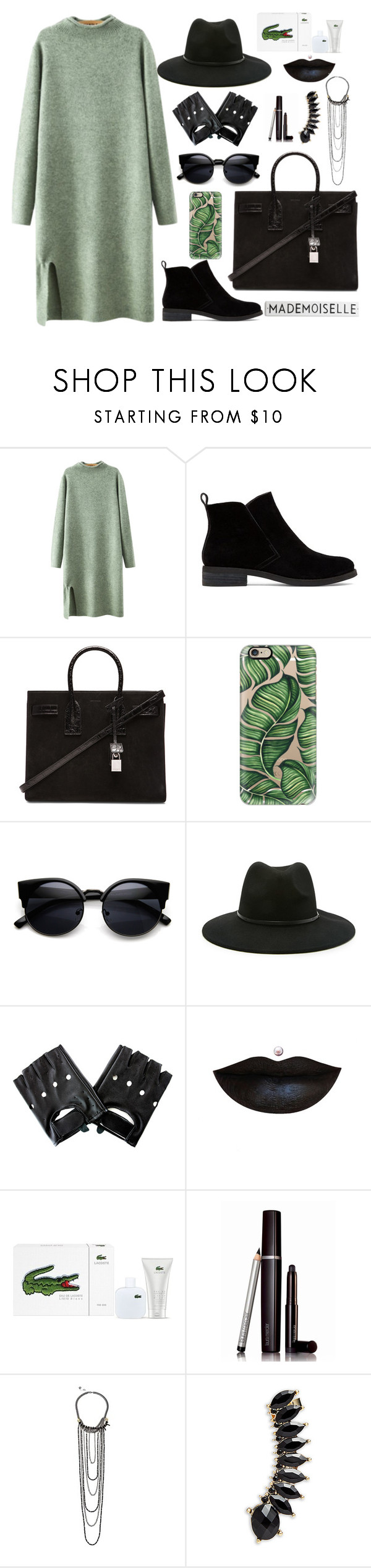 """""""Green-and-black"""" by microl ❤ liked on Polyvore featuring Chicnova Fashion, Lucky Brand, Yves Saint Laurent, Casetify, Forever 21, Lacoste, Laura Mercier, French Connection, Jules Smith and women's clothing"""
