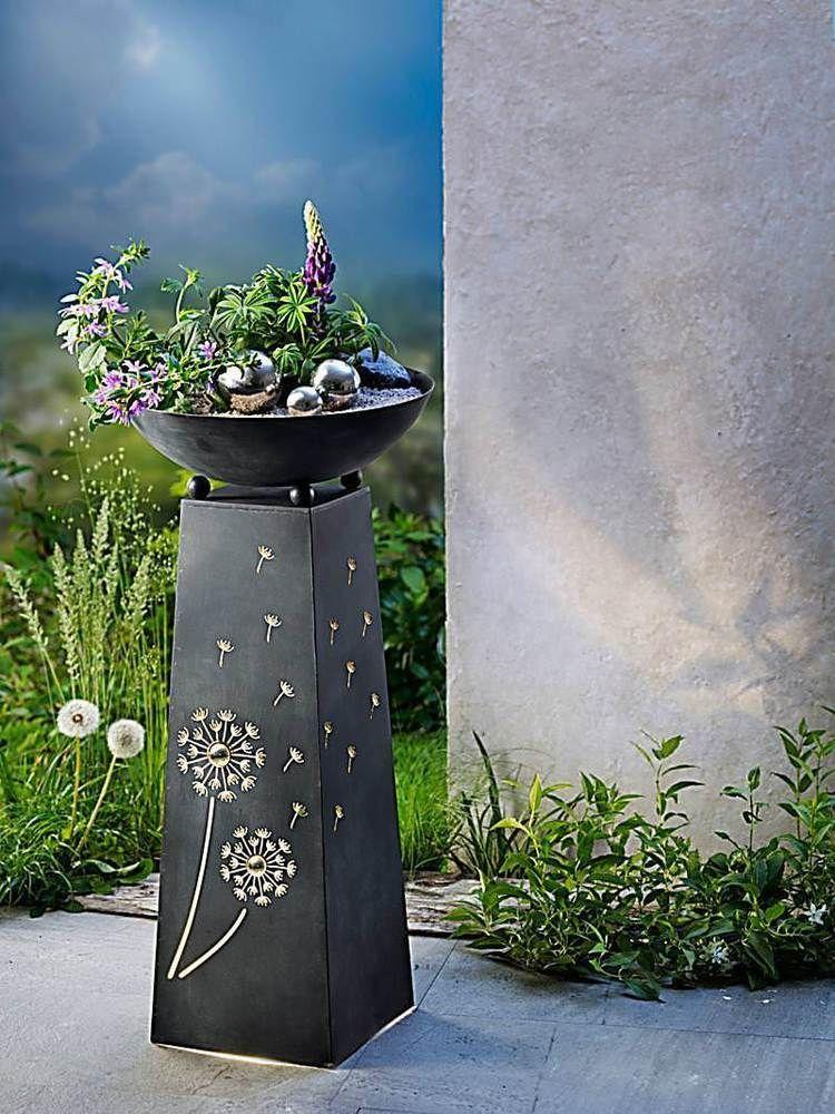 pflanzsaeule mit led beleuchtung pusteblume garten deko