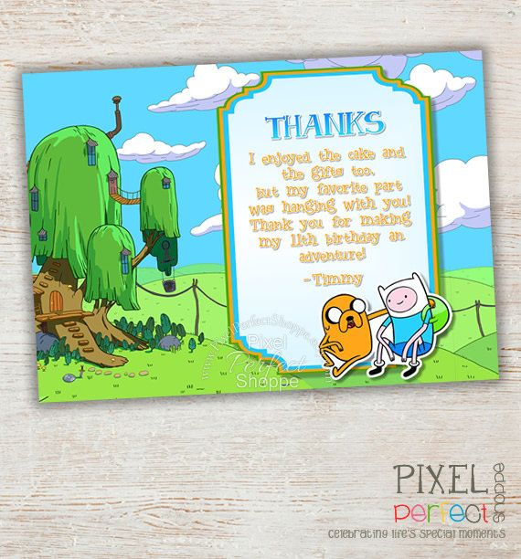 Adventure Time Thank You Card Adventure Time Card Jake And Finn