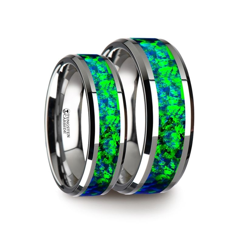 Matching Ring Set Tungsten Wedding Band With Beveled Edges And Emerald  Green U0026 Sapphire Blue Color