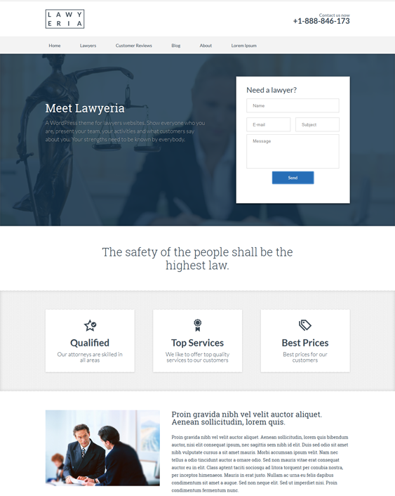 This WordPress theme for lawyers and attorneys offers CSS3 and HTML5 ...
