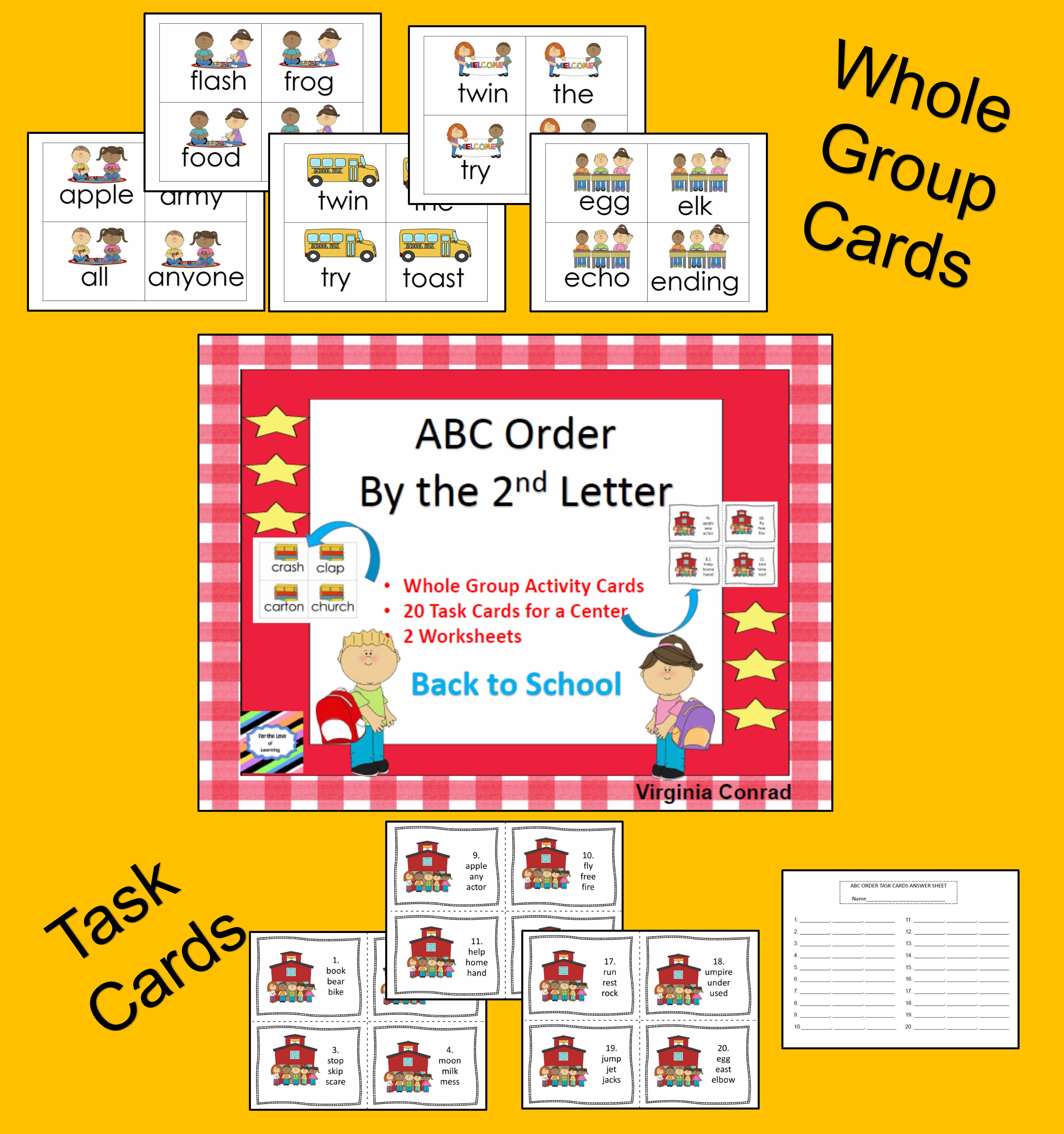 Abc Order By The 2nd Letter Back To School Theme