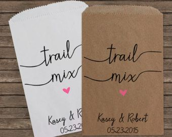 Trail Mix Rustic Wedding Favor Bags, Candy Bar Bags, Wedding Candy Favor Bags, Personalized Wedding Favor Bags, Treat Bags, Favor, Kraft 129
