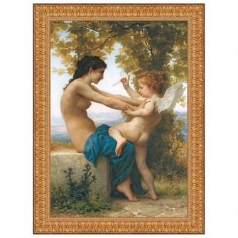 Young Girl Defending Herself Against Eros, 1880, Canvas Replica Painting: Medium $199.00