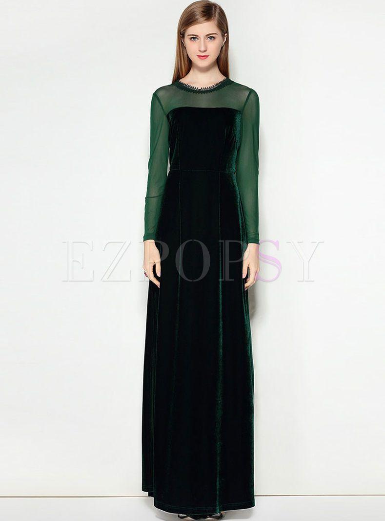 Party velvet splicing slit long sleeve maxi dress long sleeve maxi