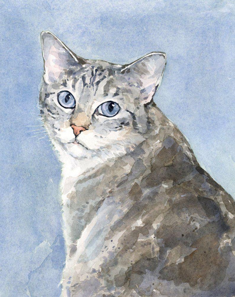 Aangepaste Kat Portret 8 X 10 Huisdier Aquarel Aquarel Kat Grijze Katten En Dierlijke Schilderijen