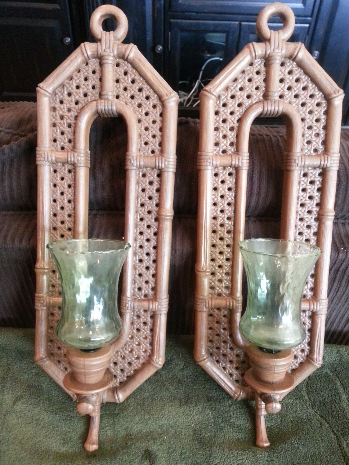 Wall Sconce Set   Burwood Products   Home Interiors   Wicker Look   Vintage  Wall Decor