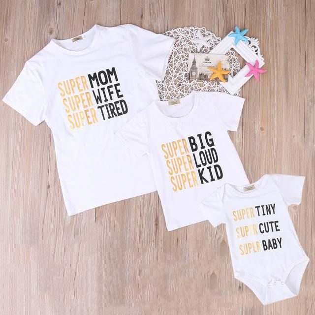 Family match clothes T-shirt  Toddler Infant Kids Baby Boys Girls Letter T shirt