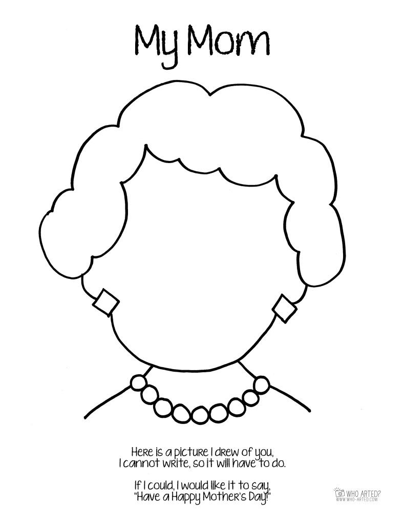 Mothers Day Coloring Page Mom Short Hair Who Arted Kids