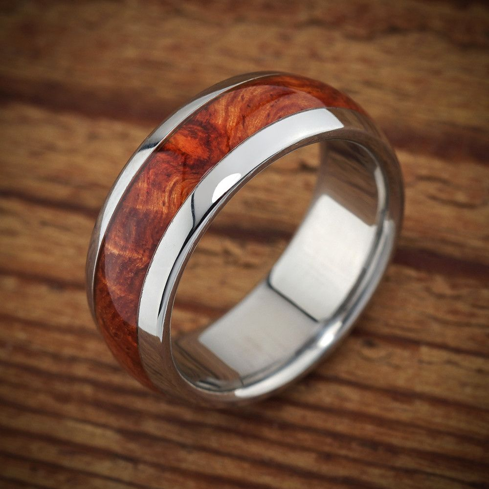 Wood Titanium Wedding Ring Amboyna from Spexton Custom Jewelry