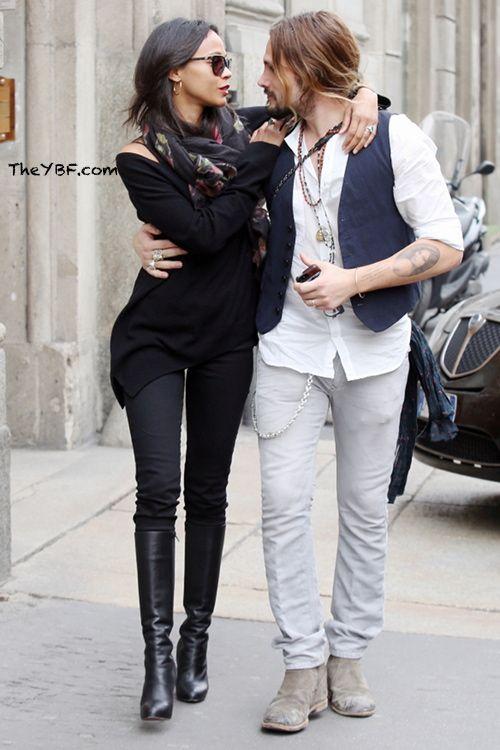 Coupledom Zoe Saldana Husband Marco Perego Get Kissy In
