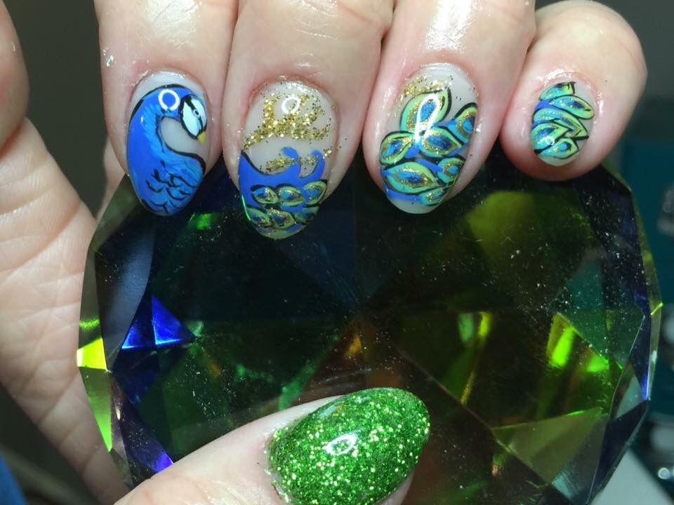 Peacock blue and green gel nails