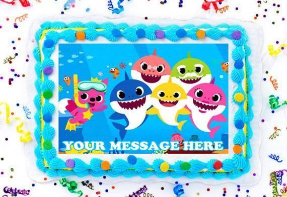 Baby Shark Cake Topper, Baby Shark Edible Image, Baby Shark Personalized Cake Topper, Baby Shark Cupcakes, Frosting Sugar Sheet -