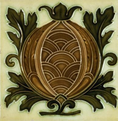 ¤ Minton tile, decorated with stylised fruit, c.1880-1900