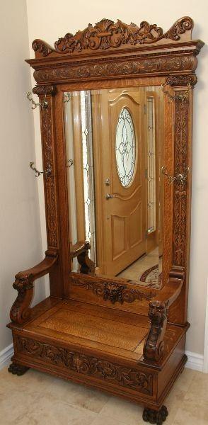 Museum Quality American Oak Hall Tree Furniture Antique