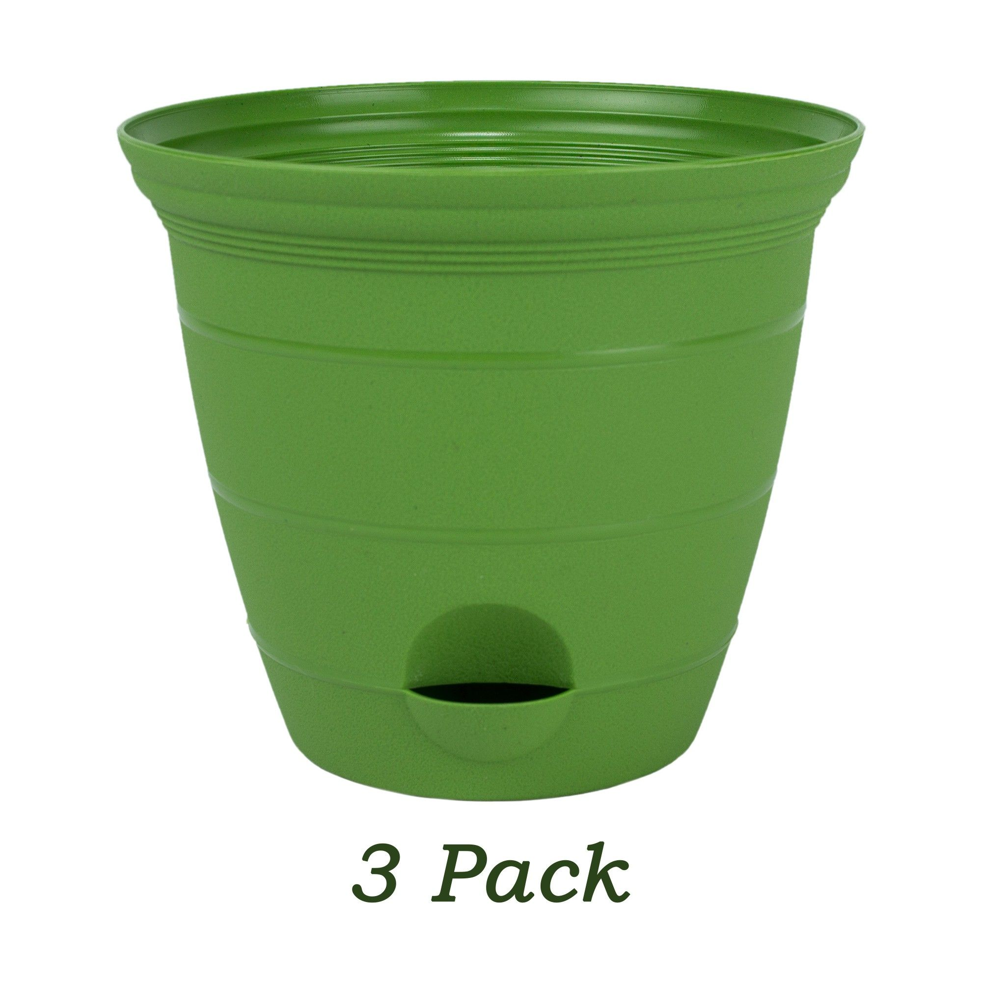 Misco 3 Pack 12 Inch Plastic Self Watering Terra Flower Plant Pot Garden Potted Planter Green Planting Flowers Garden Pots Self Watering