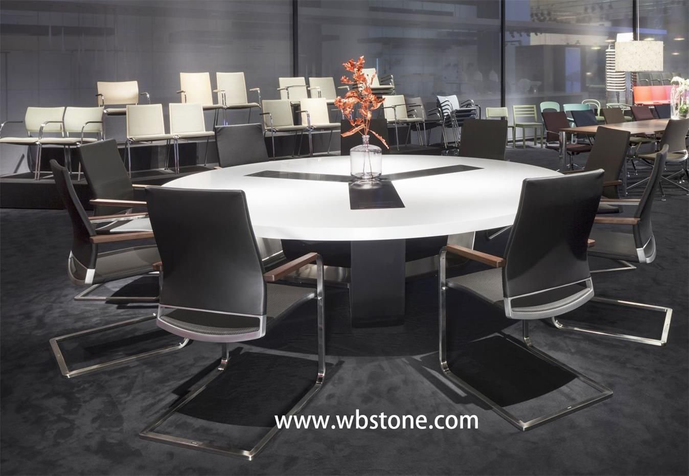 White Stone Top Conference Table Modern Design Round Shap Corian - Corian conference table