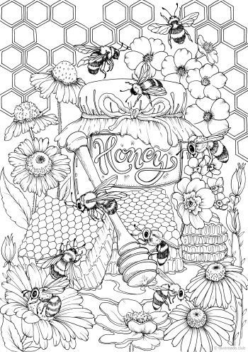 Honey - Printable Adult Coloring Pages from Favoreads #adultcoloringpages