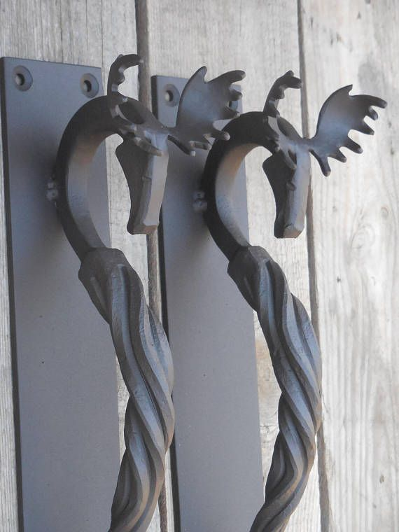 Set Of 2 Hand Forged Door Pulls Medium Moose Blacksmith