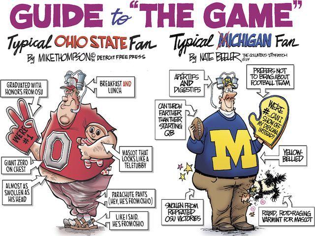 Michigan Vs Ohio State Freep Columbus Cartoonists Throw Down Michigan Ohio Ohio State Vs Michigan Ohio