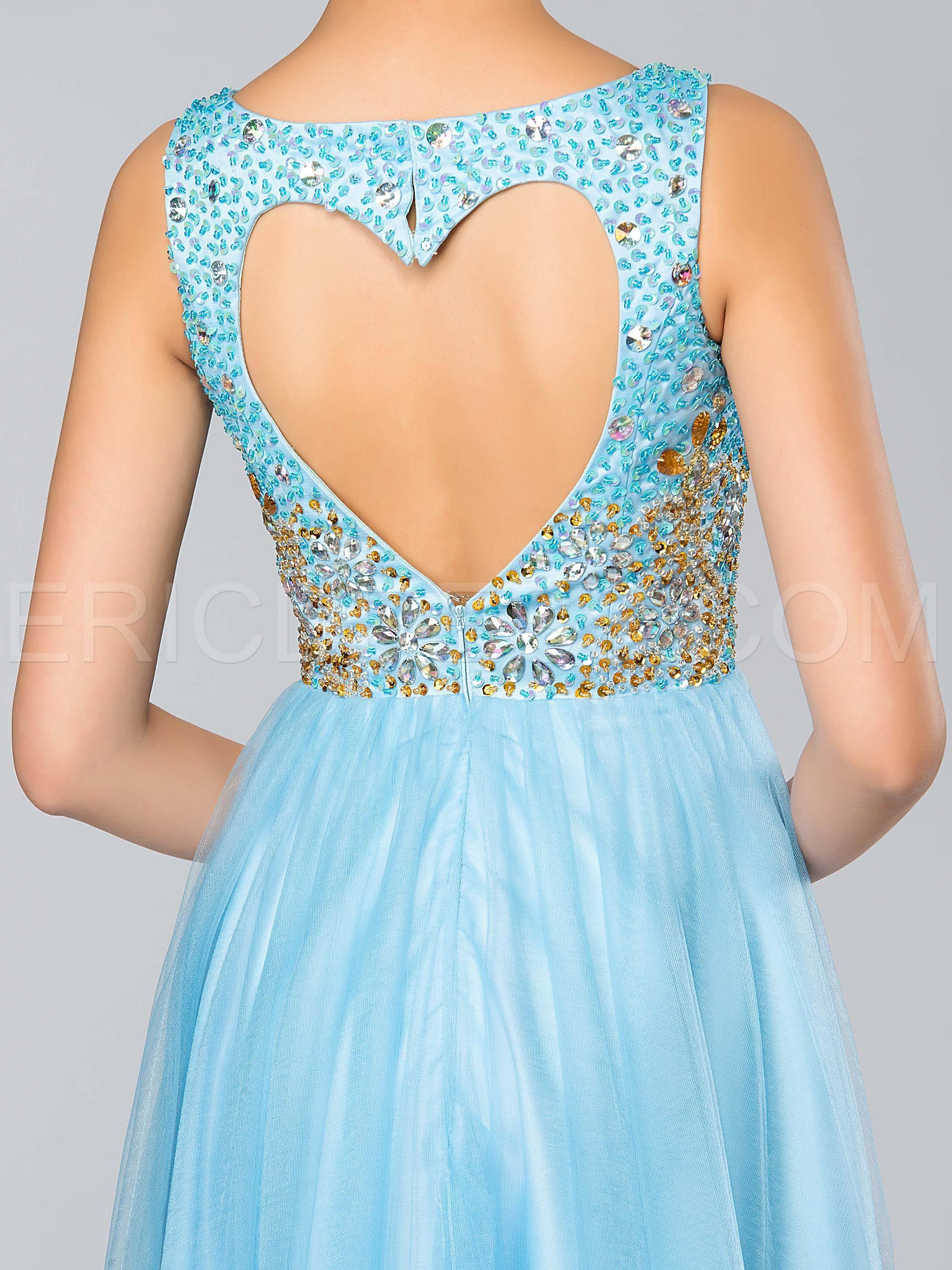 Shiny vneck beading backless aline long prom dress long prom
