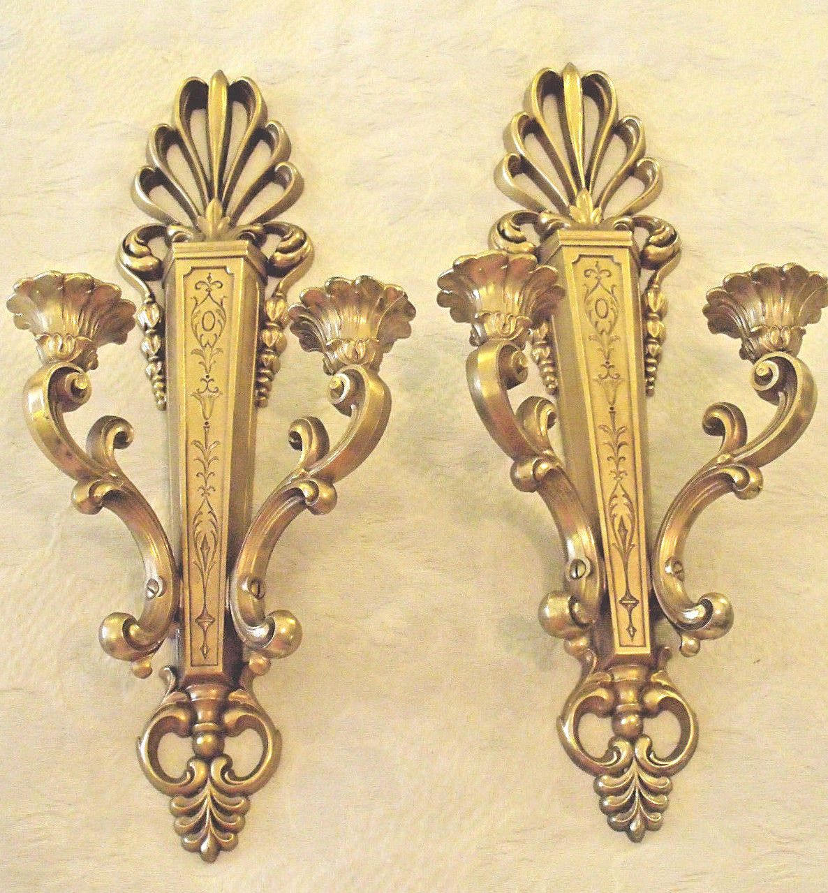 PR Double Candle Sconces Syroco Ornate Gold Homco Hollywood Regency ...