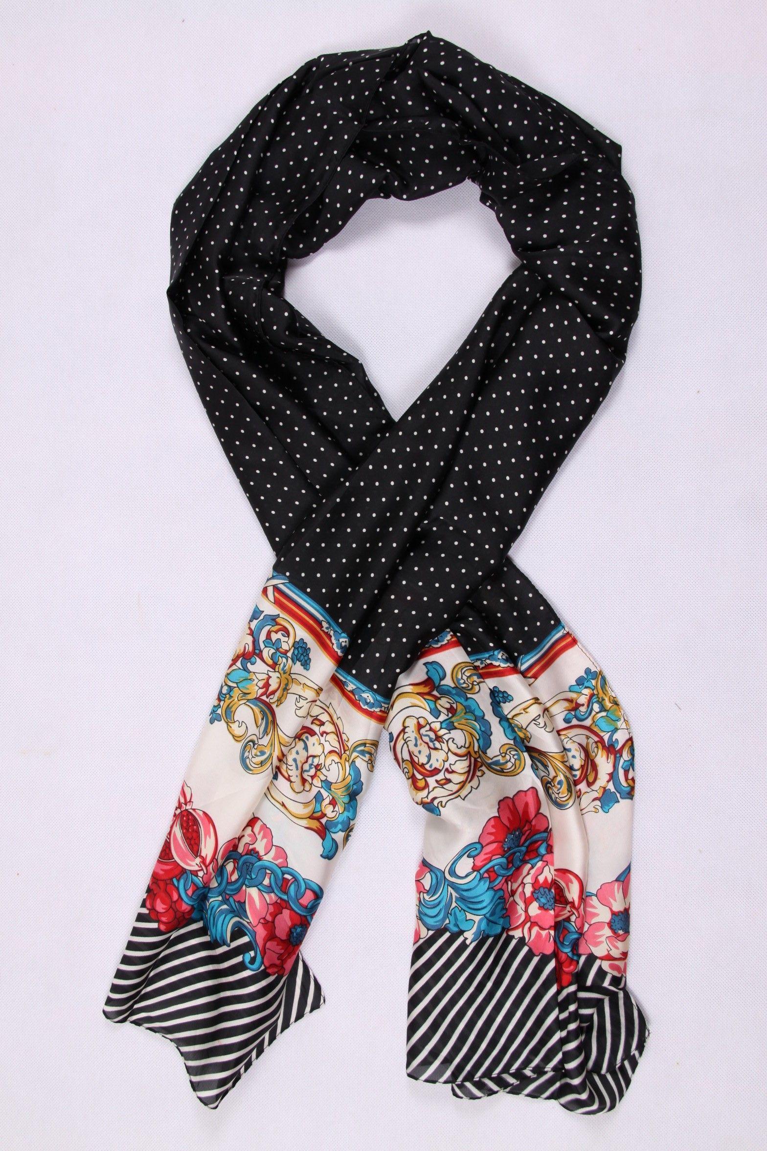 5d86e903e2 Foulard en soie noir avec des pois | Foulard Femme | Foulard ...