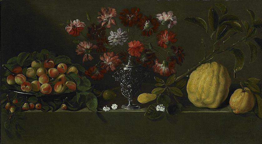 Giovanni Quinsa (Attivo a Napoli verso il 1640) Vaso d'argento con garofani, cedri, coppa di pesche e pere