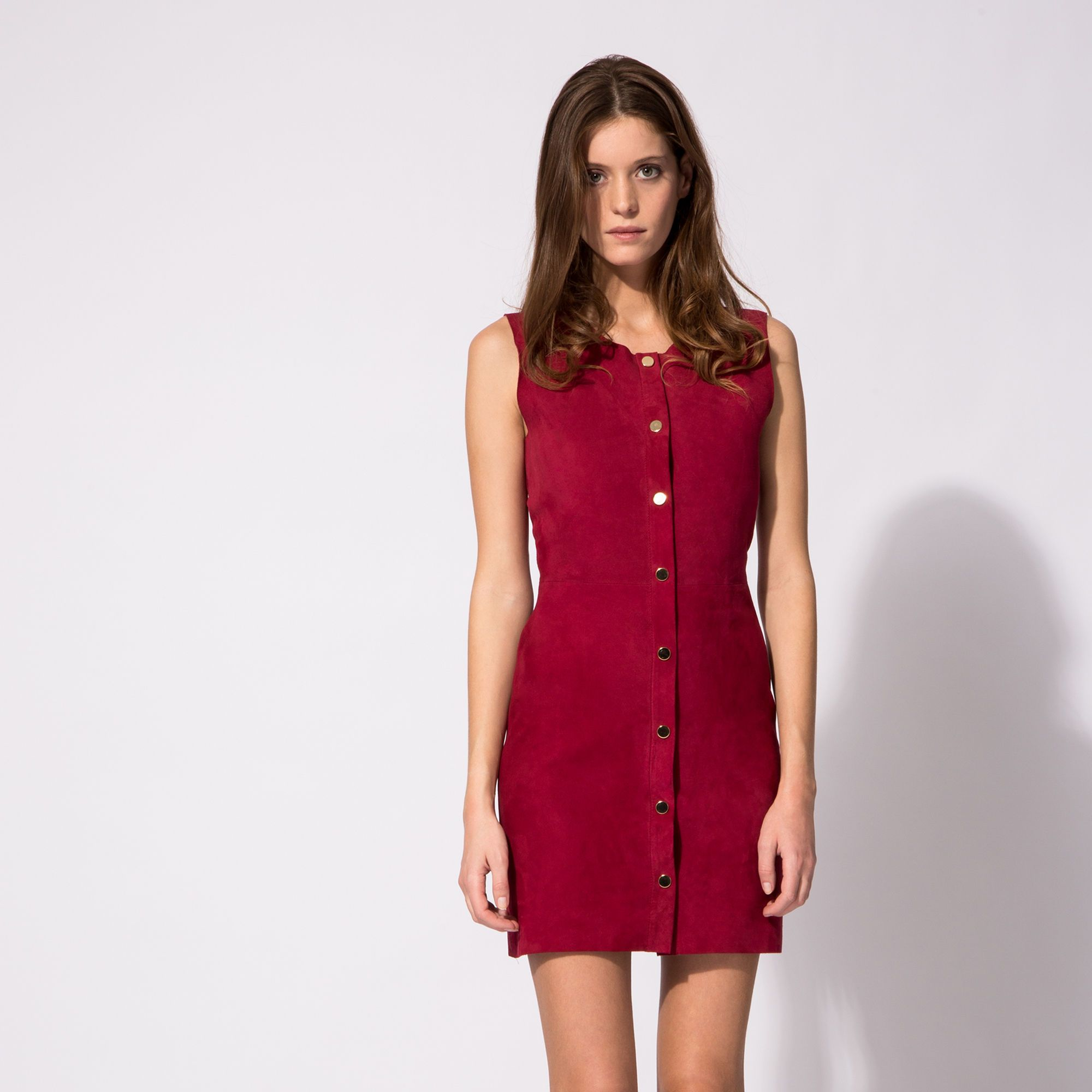 Robe cuir rouge maje