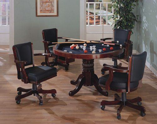 Donations Three In One Solid Cherry Wood Pool Poker Game Dining Table Chairs